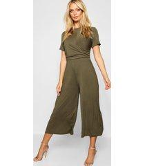 wrap culotte jumpsuit, olive