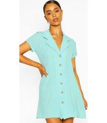 short sleeve collar button mini dress, turquoise