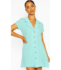 short sleeve collar button mini dress