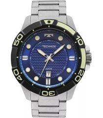 relógio masculino technos acqua 2315kzq/0a - prata