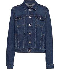 denim jacket, button closure, long jeansjacka denimjacka blå marc o'polo