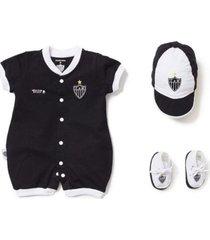 kit reve d'or sport macacão, boné, sapatinho atlético mineiro branca e preta
