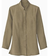 lange linnen blouse met opstaande kraag, taupe 34