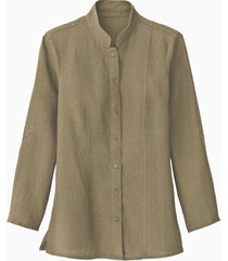 lange linnen blouse met opstaande kraag, taupe 38