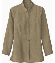 lange linnen blouse met opstaande kraag, taupe 46