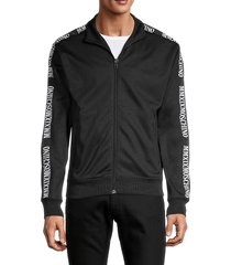 moschino men's logo-ribbon jacket - black - size 44 (34)