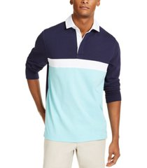 club room men's chest stripe long sleeve polo shirt, created for macy's