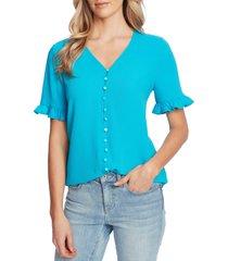 women's cece ruffle sleeve crepe blouse, size small - blue