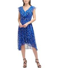 dkny printed ruffled-neck asymmetrical-hem dress