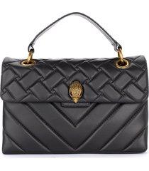 kurt geiger kensington black quilted leather shoulder bag