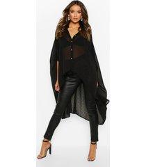 oversized dobby chiffon maxi blouse, zwart