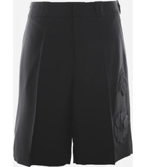 valentino mens garden bermuda in wool and mohair with embroidery