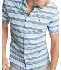 tommy hilfiger men's nash stripe short sleeve shirt