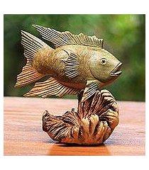 wood figurine, 'gourami fish' (indonesia)