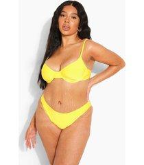 plus gerecycled hoog uitgesneden bikini broekje, yellow