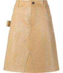 bottega veneta a-line leather skirt - neutrals