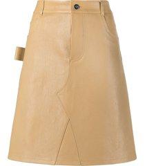 bottega veneta a-line leather skirt - neutrals