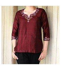 silk tunic, 'classy wine' (india)