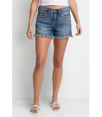 silver jeans co.® womens high rise medium fray hem 3.5in boyfriend shorts blue denim - maurices