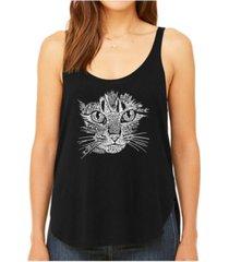la pop art women's premium word art flowy tank top- cat face
