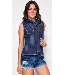 camisa jeans zait regata lolla azul marinho - azul marinho - feminino - dafiti