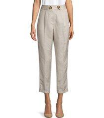 calvin klein women's pleat-front ankle pants - khaki - size 2