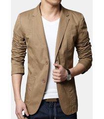 mens 100% cotone sottile blazer casual moda manica lunga in tinta unita