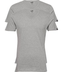 puma basic 2p v-neck t-shirts short-sleeved grå puma