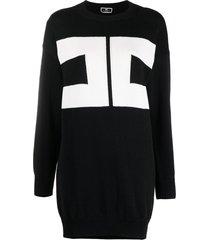 elisabetta franchi intarsia logo knit jumper dress - black
