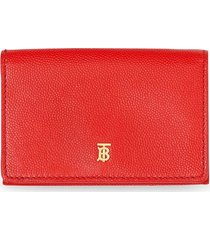 burberry small grainy leather folding wallet - red