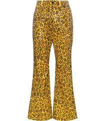 charm's leopard printed sequin embellished trousers - orange