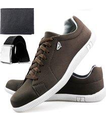 sapatenis touro boots 900 sw marrom + cinto + carteira - marrom - masculino - sintã©tico - dafiti