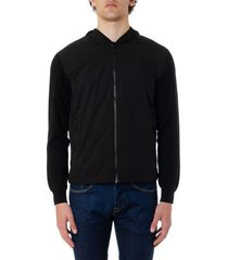z zegna black cotton sweatshirt with zip