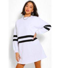 gestreepte sweatshirt jurk met lange mouwen, wit