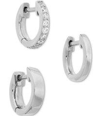 ava nadri 3-pc. cubic zirconia huggie hoop earrings
