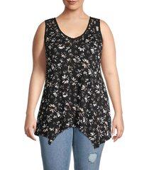 american rag women's plus floral lace-trim top - breezy daisy - size 1x (14-16)