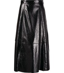 msgm textured midi skirt - black