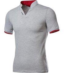 collarla manera v-cuello corto camiseta gris