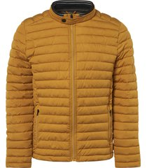 no excess jacket, short fit, dull nylon, fake ocre