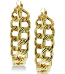 chain link hoop earrings in 14k gold