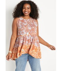 maurices plus size womens orange floral babydoll tank top