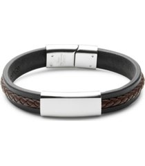 men's black with brown brai ded leather id bracelet