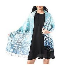 batik silk scarf, 'morning sea' (thailand)