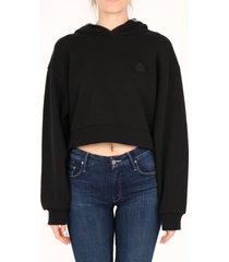 moncler logo cotton hoodie black