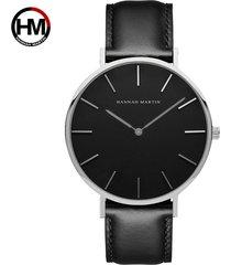 reloj de correa de nylon de los hombres de la cara-negro