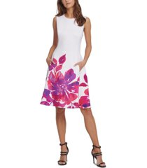 dkny floral-border fit & flare dress