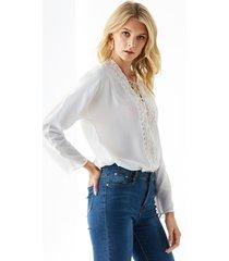 yoins blusa de encaje de crochet blanco con cuello en v y cordones diseño