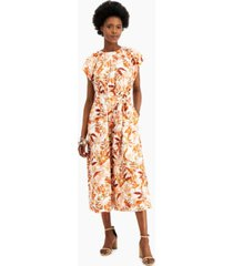 inc international concepts cotton floral-print jumpsuit, created for macy's