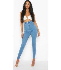 tall corrigerende skinny jeans met veters, blue