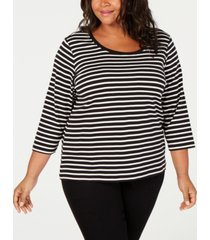 tommy hilfiger plus size cotton striped top, created for macy's